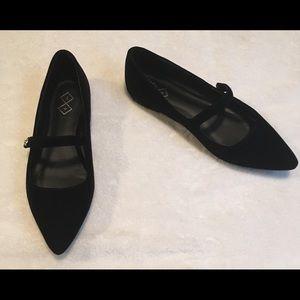 Shoes - NEW Black Velvet Mary Jane flats w/pointy toe